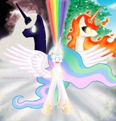 Size: 874x915 | Tagged: safe, artist:nimaru, princess celestia, oc, oc:orbash, oc:tau sunflare, 's parents, celestia and luna's father, celestia and luna's mother, mane of fire, mane on fire