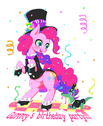 Size: 900x1100 | Tagged: safe, artist:yuzuko, gummy, pinkie pie, party of one, bowtie, clothes, confetti, cute, diapinkes, duo, engrish, happy birthday, hat, misspelling, pet, pixiv, spats, top hat, tuxedo