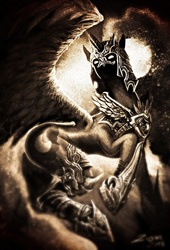Size: 704x1034 | Tagged: safe, artist:ziom05, edit, nightmare moon, nightmare dupe, sepia