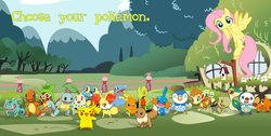 Size: 949x478 | Tagged: safe, fluttershy, bulbasaur, charmander, chespin, chikorita, chimchar, cyndaquil, eevee, fennekin, froakie, mudkip, oshawott, pikachu, piplup, snivy, squirtle, tepig, torchic, totodile, treecko, turtwig, may the best pet win, bird house, crossover, fence, pokémon, pokémon x and y, text