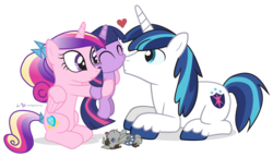 Size: 1200x690 | Tagged: safe, artist:dm29, princess cadance, shining armor, smarty pants, twilight sparkle, cute, cutedance, female, filly, filly twilight sparkle, holding, julian yeo is trying to murder us, kissing, male, shining adorable, simple background, teen princess cadance, transparent background, trio, twiabetes, young, young twilight, younger