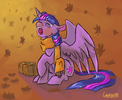 Size: 1100x900 | Tagged: safe, artist:gaiascope, twilight sparkle, alicorn, pony, clothes, crying, eyes closed, female, mare, open mouth, package, raised hoof, scarf, sitting, sleepy, solo, spread wings, tears of exhaust, tired, twilight sparkle (alicorn), wings, yawn