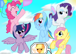 Size: 3496x2512 | Tagged: safe, artist:dhiliedale, applejack, fluttershy, pinkie pie, rainbow dash, rarity, twilight sparkle, alicorn, applejack is not amused, artificial wings, augmented, balloon, day, female, glimmer wings, magic, magic wings, mane six, mare, sky, sun, then watch her balloons lift her up to the sky, twilight sparkle (alicorn), unamused, wings