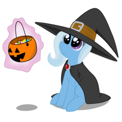 Size: 1280x1280   Tagged: safe, artist:animefreak40k, trixie, pony, unicorn, bucket, candy, cute, diatrixes, female, halloween, hat, magic, mare, nightmare night, smiling, solo, witch hat