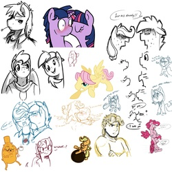 Size: 1500x1500 | Tagged: safe, artist:nolycs, applejack, big macintosh, derpy hooves, fluttershy, pinkie pie, rainbow dash, twilight sparkle, chicken, earth pony, human, pegasus, pony, unicorn, anthro, :t, adventure time, anthro with ponies, appleblitz (straight), appledash, backwards ballcap, baseball cap, blushing, bubble berry, butterscotch, cheek kiss, confused, crossed arms, cute, derp, dialogue, dusk shine, duskabetes, dusktwi, eyes closed, female, frown, glare, gritted teeth, half r63 shipping, happy, hat, hug, humanized, jake the dog, kissing, lidded eyes, lineart, male, mare, monochrome, nose kiss, nose wrinkle, onomatopoeia, open mouth, pinkie being pinkie, rainbow blitz, raised hoof, raspberry, raspberry noise, rule 63, rule63betes, selfcest, shipping, shocked, simple background, sitting, sketch, sketch dump, spread wings, squishy cheeks, stallion, straight, sweat, sweatdrop, text, wall of tags, wat, wavy mouth, white background, wide eyes, wings, wrecking ball