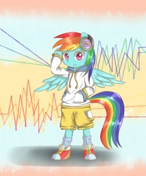 Size: 1000x1200 | Tagged: safe, artist:luciferamon, rainbow dash, semi-anthro, clothes, headphones, solo