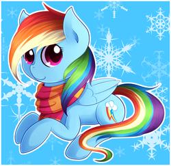 Size: 1876x1824 | Tagged: safe, artist:agletka, rainbow dash, clothes, snow, snowflake, solo, winter