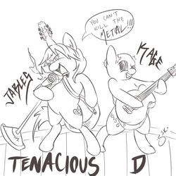 Size: 1000x1000   Tagged: safe, artist:silver1kunai, pony, bipedal, guitar, microphone, monochrome, ponified, tenacious d