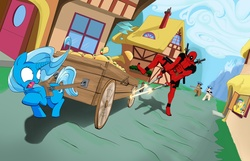 Size: 2100x1349 | Tagged: safe, artist:protoryes, trixie, cart, chase, crossover, deadpool, food, gun, marvel, scared, taco, wagon, wat, weapon