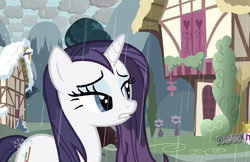 Size: 1180x764 | Tagged: safe, screencap, rarity, pony, unicorn, magical mystery cure, checkered clouds, female, lidded eyes, mare, rain, solo, swapped cutie marks, wet, wet mane, wet mane rarity