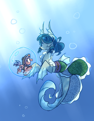 Size: 647x833 | Tagged: safe, artist:modern-warmare, hippocampus, merpony, sea pony, siren, bubble, crepuscular rays, cute, eyes closed, open mouth, ponified, shoo be doo, smiling, sukuna shinmyoumaru, tiny ponies, touhou, underwater, wakasagihime