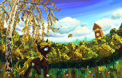 Size: 1400x900   Tagged: safe, artist:equie, artist:sapsan, oc, oc only, oc:equie, alicorn, pony, alicorn oc, autumn, bell, clock, clock tower, flower, forest, grass, leaf, leaves, necklace, ponyville tower, solo, tree