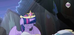 Size: 1274x612   Tagged: safe, princess celestia, twilight sparkle, alicorn, pony, season 4, adventure in the comments, confirmed legit, crying, female, hub logo, mare, sad, twilight sparkle (alicorn)