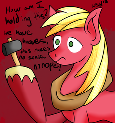 Size: 1400x1500 | Tagged: artist:novaspark, big macintosh, dexterous hooves, earth pony, hammer, male, pony, safe, solo, stallion