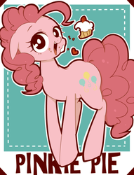Size: 599x784 | Tagged: artist:umeguru, cupcake, earth pony, eating, messy eating, pinkie pie, pixiv, pony, safe, solo