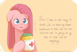 Size: 1239x852 | Tagged: safe, artist:frankier77, pinkie pie, ask pinkamena diane pie, ask, bits, charity, coin, cross, cute, cuteamena, diapinkes, female, floppy ears, hoof hold, jar, mare, natural disaster, philippines, pinkamena diane pie, red cross, sad, sadorable, solo, sweet dreams fuel, tacloban, talking to viewer, tumblr, typhoon, typhoon haiyan