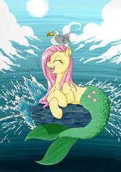 Size: 2492x3510 | Tagged: safe, artist:mohawkrex, fluttershy, mermaid, merpony, seagull, ear fluff, happy, ocean, race swap, rock, smiling, the little mermaid
