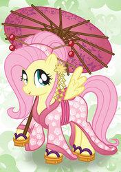 Size: 1024x1453 | Tagged: safe, artist:bonniepink, fluttershy, alternate hairstyle, clothes, cute, female, geta, kimono (clothing), sandals, shyabetes, solo, tsumami kanzashi, umbrella, wagasa