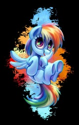 Size: 1224x1920   Tagged: safe, artist:kaermter, rainbow dash, pegasus, pony, black background, cute, dashabetes, female, looking at you, open mouth, simple background, smiling, solo, spread wings, underhoof, wings