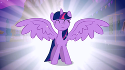 Size: 1280x720 | Tagged: alicorn, alicorn flash, cute, edit, edited screencap, excited, female, happiness, happy, inverted eyes, inverted mouth, magical mystery cure, mare, pony, safe, screencap, smiling, solo, spread wings, twiabetes, twilight sparkle, twilight sparkle (alicorn), wings