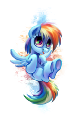 Size: 1399x2194 | Tagged: safe, artist:kaermter, rainbow dash, pegasus, pony, cute, dashabetes, female, looking at you, open mouth, simple background, smiling, solo, spread wings, transparent background, underhoof