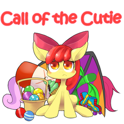 Size: 1000x1000   Tagged: safe, artist:30clock, apple bloom, scootaloo, sweetie belle, call of the cutie, :c, adorabloom, ball, cute, cutie mark crusaders, female, looking at you, pixiv, roller skates, sad, scene interpretation, sitting, solo