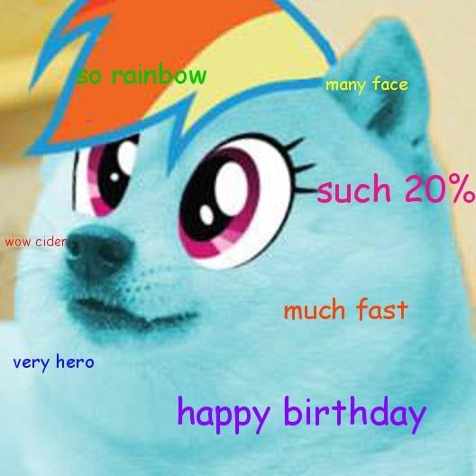 full 474751 doge, happy birthday, meme, rainbow dash, safe, shiba inu