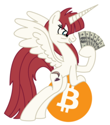 Size: 2728x3096 | Tagged: alicorn, bipedal leaning, bitcoin, capitalism, dollar, dollars, federal reserve note, grin, lauren faust, money, oc, oc:fausticorn, oc only, pony, safe, smiling, solo, spread wings