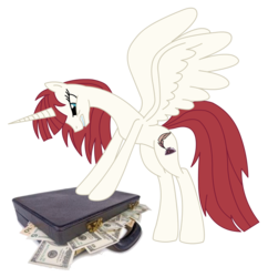Size: 1870x1934 | Tagged: alicorn, briefcase, briefcase full of money, capitalism, dollar, dollars, dosh, federal reserve note, lauren faust, money, oc, oc:fausticorn, oc only, pony, safe, solo