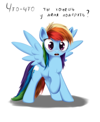 Size: 900x1100 | Tagged: safe, artist:sokolas, rainbow dash, pegasus, pony, blushing, cyrillic, embarrassed, female, looking at you, measuring, russian, solo, surprised, translated in the comments, wingboner