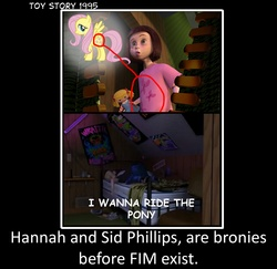Size: 1774x1721 | Tagged: safe, fluttershy, 1995, boy liking girly thing joke, brony, coincidence, hannah phillips, hilarious in hindsight, mind blown, sid phillips, toy story