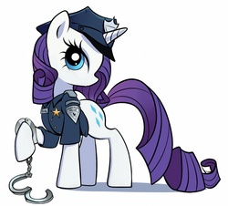 Size: 800x724 | Tagged: safe, artist:gsphere, rarity, pony, unicorn, clothes, cuffs, fashion police, female, mare, police, police officer, raricop, simple background, solo, uniform, white background