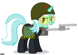 Size: 2500x1788   Tagged: safe, artist:a4r91n, lyra heartstrings, boots, clothes, command and conquer, communism, crossover, female, goggles, grin, hoof boots, red alert, shock trooper, simple background, solo, soviet, transparent background, uniform, vector, weapon