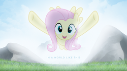 Size: 1920x1080   Tagged: safe, artist:adrianimpalamata, artist:thatguy1945, fluttershy, cute, female, field, flying, glowing, hug, incoming hug, shyabetes, solo, vector, wallpaper