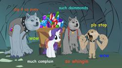 Size: 500x281 | Tagged: safe, edit, edited screencap, screencap, fido, rarity, rover, spot, diamond dog, a dog and pony show, a 'doge and pone show', cave, complaining, diamond doge, doge, jewel, meme, mine, wagon