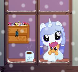 Size: 800x738 | Tagged: safe, artist:skunk412, apple bloom, applejack, babs seed, derpy hooves, fluttershy, pinkie pie, queen chrysalis, rainbow dash, rarity, scootaloo, sweetie belle, twilight sparkle, oc, alicorn, pony, chocolate, cutie mark crusaders, female, food, holding a pony, hot chocolate, mane six, mare, scootalove, twilight sparkle (alicorn)