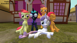 Size: 1024x576 | Tagged: safe, artist:adamirvine, apple bloom, babs seed, scootaloo, sweetie belle, oc, oc:nyx, alicorn, pony, 3d, alicorn oc, gmod