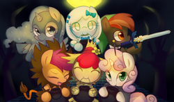 Size: 1700x1000 | Tagged: safe, artist:maren, apple bloom, button mash, nightmare moon, princess luna, scootaloo, sweetie belle, oc, oc:snowdrop, alicorn, pony, robot, robot pony, unicorn, adorabloom, buttonbetes, cowardly lion, cute, cutealoo, cutie mark crusaders, diasweetes, dorothy gale, eyes closed, female, filly, foal, hooves, horn, link, looking at you, master sword, moonabetes, mouth hold, nightmare night, nightmare woon, nintendo, open mouth, scarecrow, snowbetes, sweetie bot, sword, the legend of zelda, the wizard of oz, time paradox, tin man, trick or treat, weapon, woona