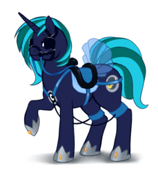 Size: 1010x1101 | Tagged: dead source, safe, artist:revadiehard, oc, oc only, oc:moonlight silk, pony, unicorn, bit, blinders, breast collar, bridle, clothes, dress, harness, hoof shoes, raised hoof, reins, saddle, simple background, solo, tack, transparent background