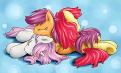 Size: 900x545 | Tagged: dead source, safe, artist:xioade, apple bloom, scootaloo, sweetie belle, pony, unicorn, adorabloom, cuddle puddle, cute, cutealoo, cutie mark crusaders, diasweetes, eyes closed, female, mare, messy mane, older, on side, pile, pony pile, prone, sleeping, underhoof