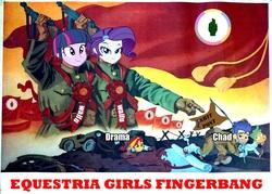 Size: 2160x1545   Tagged: safe, flash sentry, rarity, snails, sunset shimmer, twilight sparkle, equestria girls, /mlp/, 4chan, communism, equestria girls drama, fine art parody, fingerbanging general, north korea, waifu