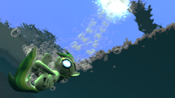 Size: 1360x768 | Tagged: safe, artist:herowolfmod, oc, oc only, 3d, bubble, gak dash, gmod, underwater