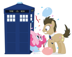 Size: 1000x800 | Tagged: safe, artist:dm29, doctor whooves, pinkie pie, time turner, earth pony, pony, balloon, confetti, crossover, day of the doctor, doctor who, doctor who 50th anniversary, duo, female, male, mare, pinkie being pinkie, pinkie physics, ponified, simple background, sonic screwdriver, stallion, tardis, the doctor, transparent background
