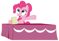 Size: 2879x2030 | Tagged: safe, artist:synch-anon, artist:twiforce, pinkie pie, castle mane-ia, season 4, notepad, simple background, solo, table, transparent background, vector