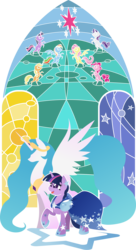 Size: 2134x3909 | Tagged: alicorn, applejack, artist:rariedash, clothes, dress, earth pony, female, fluttershy, gala dress, hooves, horn, lineless, mane six, mare, open mouth, pegasus, pinkie pie, pony, princess celestia, rainbow dash, raised hoof, rarity, safe, spread wings, stained glass, twilight sparkle, unicorn, wings