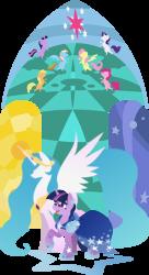Size: 2134x3909 | Tagged: safe, artist:rariedash, applejack, fluttershy, pinkie pie, princess celestia, rainbow dash, rarity, twilight sparkle, alicorn, earth pony, pegasus, pony, unicorn, clothes, dress, female, gala dress, hooves, horn, lineless, mane six, mare, open mouth, raised hoof, spread wings, stained glass, wings
