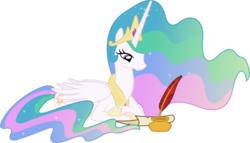 Size: 6920x3960 | Tagged: safe, artist:90sigma, princess celestia, pony, absurd resolution, female, ink, inkwell, mare, parchment, quill, simple background, solo, transparent background, vector