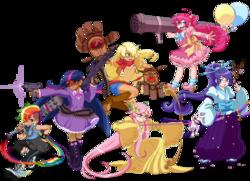 Size: 1050x761 | Tagged: dead source, safe, artist:phosphe, applejack, fluttershy, pinkie pie, rainbow dash, rarity, twilight sparkle, human, archery, arrow, badass, balloon, bow (weapon), bow and arrow, clothes, dress, fantasy class, flutterbadass, gun, hmd, humanized, kimono (clothing), light skin, mane six, moderate dark skin, skirt, sword, undercut, uzi, weapon