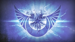Size: 1920x1080 | Tagged: safe, artist:emkay-mlp, artist:romus91, princess luna, lens flare, logo, new lunar republic, vector, wallpaper