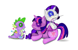 Size: 5100x3300 | Tagged: safe, artist:thebubbleqat, rarity, spike, twilight sparkle, alicorn, pony, doll, female, mare, mouth hold, needle, pin, pincushion spike, plushie, rarity plushie, sewing, spike plushie, thread, twilight sparkle (alicorn), twilight sparkle plushie